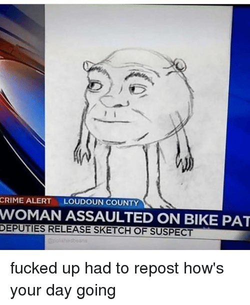 Hows Your Day: CRIME ALERT  LOUDOUN COUNTY  WOMAN ASSAULTED ON BIKE PAT  DEPUTIES RELEASE SKETCH OF SUSPECT fucked up had to repost how's your day going