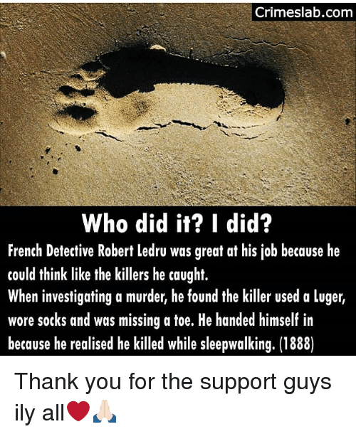 the killers: Crimeslab.com  Who did it? I did?  French Detective Robert ledru was great at his job because he  could think like the killers he caught.  When investigating a murder, he found the killer used a luger,  wore socks and was missing a toe. He handed himself in  because he realised he killed while sleepwalking. (1888) Thank you for the support guys ily all❤️🙏🏻