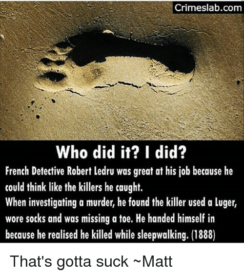 the killers: Crimeslab.com  Who did it? I did?  French Detective Robert ledru was great at his job because he  could think like the killers he caught.  When investigating a murder, he found the killer used a luger,  wore sotks and was missing a toe. He handed himself in  because he realised he killed while sleepwalking. (1888) That's gotta suck ~Matt