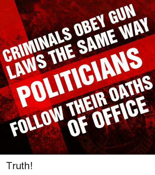 gun laws: CRIMINALS OBEY GUN  LAWS THE SAME WAY  POLITICIANS  FOLLOW THEIR OATHS  OF OFFICE Truth!