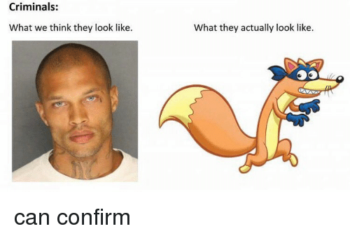 Memes, 🤖, and Looking: Criminals:  What we think they look like.  what they actually look like can confirm