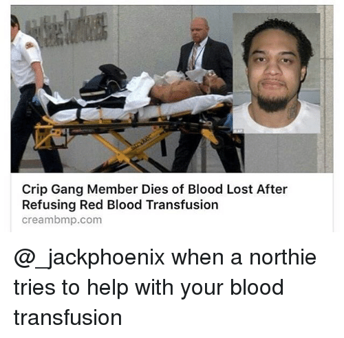 Creambmp: Crip Gang Member Dies of Blood Lost After  Refusing Red Blood Transfusion  creambmp.com @_jackphoenix when a northie tries to help with your blood transfusion