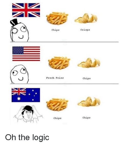 Logic, Memes, and 🤖: crisps  chips  Prech Pries  Chips  chips  Chips Oh the logic