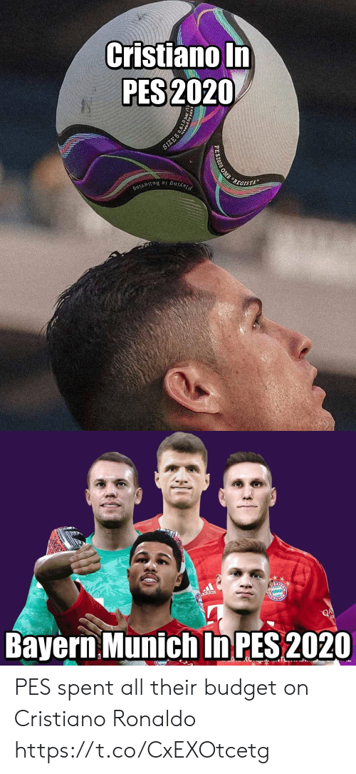 Bayern: Cristiano In  PES 2020  SIZE5  REGISTA  Playing is Believing  PES2020 OMB   adidas  Bayern Munich In PES 2020  QA  EWIUN PES spent all their budget on Cristiano Ronaldo https://t.co/CxEXOtcetg