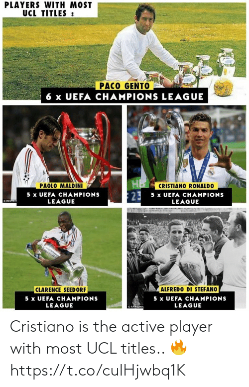 player: Cristiano is the active player with most UCL titles.. 🔥 https://t.co/cuIHjwbq1K