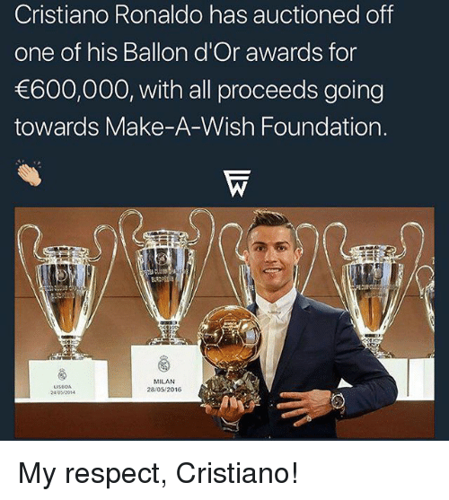 Cristiano Ronaldo, Memes, and Respect: Cristiano Ronaldo has auctioned off  one of his Ballon d'Or awards for  600,000, with all proceeds going  towards Make-A-Wish Foundation.  LISBOA  24/042014  MILAN  28/05/2016 My respect, Cristiano!