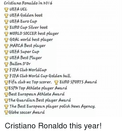 Cristiano Ronaldo, Fifa, and Memes: Cristiano Ronaldo in 2016  UEFA UCL  UEFA Golden boot  UEFA Euro Cup  EURO Cup silver boot  WORLD SOCCER best player  GOAL world best player  MARCA Best player  UEFA Super Cup  UEFA Best Player  Ballon D'Or  FIFA club worldcup  FIFA Club World Cup qolden ball.  Fifa club wc Top scorer. EURO SPORTS Award.  RESPN Top Athlete player Award  Best European  Athlete Award  The Guardian Best player Award  The Best European player polish News Agency.  Globe soccer  Award Cristiano Ronaldo this year!