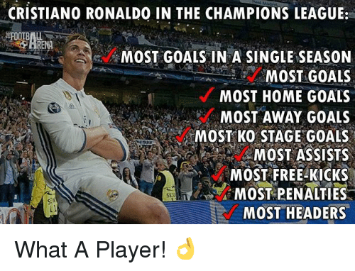 Cristiano Ronaldo, Goals, and Memes: CRISTIANO RONALDO IN THE CHAMPIONS LEAGUE:  RENA  MOST GOALS IN A SINGLE SEASON  MOST GOALS  MOST HOME GOALS  MOST AWAY GOALS  MOST KO STAGE GOALS  MOST ASSISTS  MOST FREE KICKS  MOST PENALTIES  MOST HEADERS What A Player! 👌
