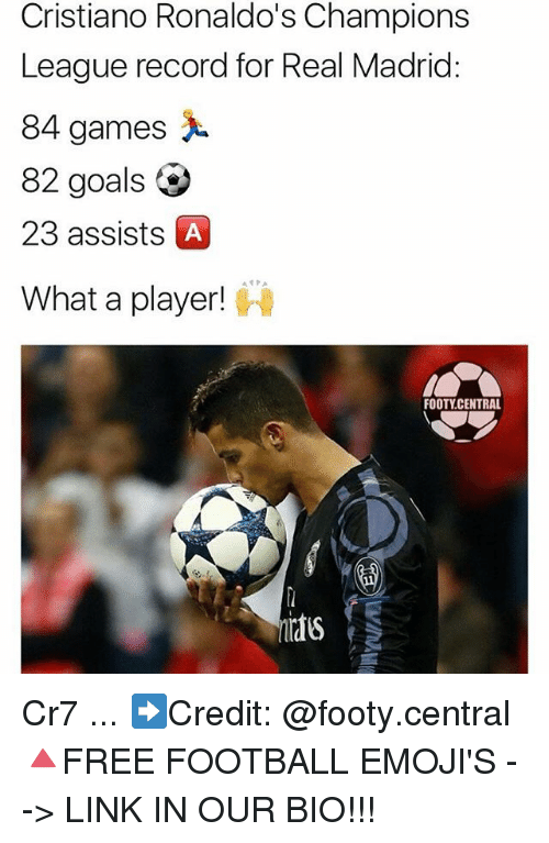 Football, Goals, and Memes: Cristiano Ronaldo's Champions  League record for Real Madrid:  84 games  82 goals  23 assists A  What a player!  FOOTY CENTRAL Cr7 ... ➡️Credit: @footy.central 🔺FREE FOOTBALL EMOJI'S --> LINK IN OUR BIO!!!