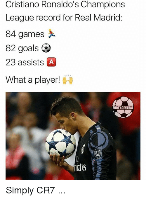 Goals, Memes, and Real Madrid: Cristiano Ronaldo's Champions  League record for Real Madrid:  84 games  82 goals  23 assists A  What a player!  FOOTY CENTRAL Simply CR7 ...