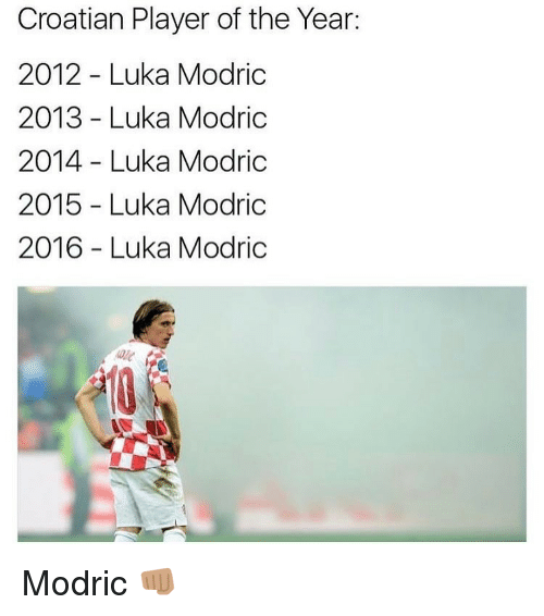 Memes, Croatian, and 🤖: Croatian Player of the Year:  2012 Luka Modric  2013 Luka Modric  2014 Luka Modric  2015 Luka Modric  2016 Luka Modric Modric 👊🏽