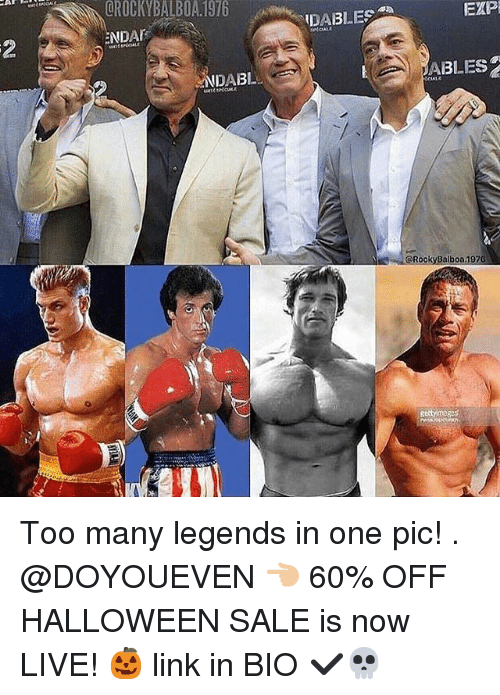 Gym, Halloween, and Link: CROCKYBALBOA.1976IDABLES  EXP  NDA  2  ABLES  NDAB  @RockyBalbo0.1976  Rettyimages Too many legends in one pic! . @DOYOUEVEN 👈🏼 60% OFF HALLOWEEN SALE is now LIVE! 🎃 link in BIO ✔️💀
