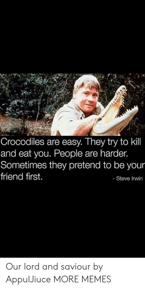 Steve Irwin: Crocodiles are easy. They try to kil  and eat you. People are harder.  Sometimes they pretend to be your  friend first.  - Steve Irwin Our lord and saviour by AppulJiuce MORE MEMES