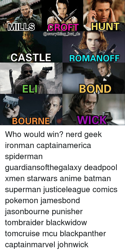 Anime, Batman, and Memes: CROFTHUNT  CASTLE ROMANOFF  ELI  BOND  BOURNE  WICK Who would win? nerd geek ironman captainamerica spiderman guardiansofthegalaxy deadpool xmen starwars anime batman superman justiceleague comics pokemon jamesbond jasonbourne punisher tombraider blackwidow tomcruise mcu blackpanther captainmarvel johnwick