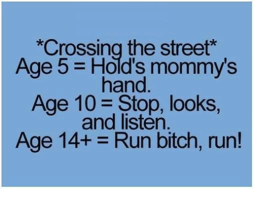 run bitch run: *Crossing the street  Age Hold's mommy's  hand  Age 10 Stop, looks,  and listen.  Age 14+ Run bitch, run!