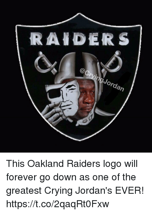 Oakland Raiders: @CrvingJordan This Oakland Raiders logo will forever go down as one of the greatest Crying Jordan's EVER! https://t.co/2qaqRt0Fxw