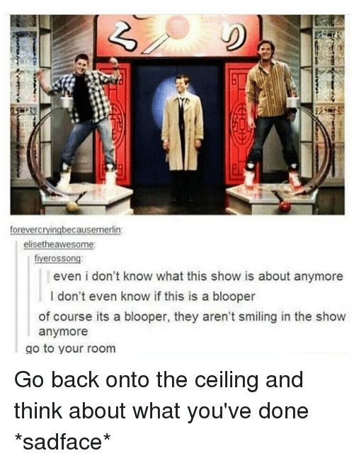 Memes, Bloopers, and 🤖: cryingbecausemerlin  foreverc  elisethe awesome:  rosson  flyer even i don't know what this show is about anymore  I don't even know if this is a blooper  of course its a blooper, they aren't smiling in the show  anymore  go to your room Go back onto the ceiling and think about what you've done *sadface*