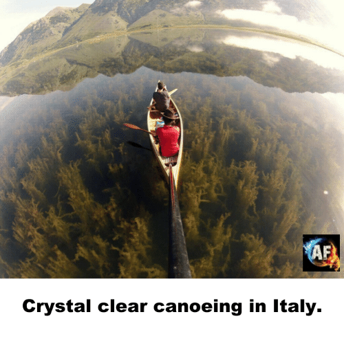 Canoeing: Crystal clear canoeing in Italy.