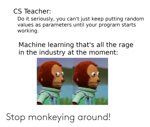 values: CS Teacher:  Do it seriously, you can't just keep putting random  values as parameters until your program starts  working.  Machine learning that's all the rage  in the industry at the moment: Stop monkeying around!