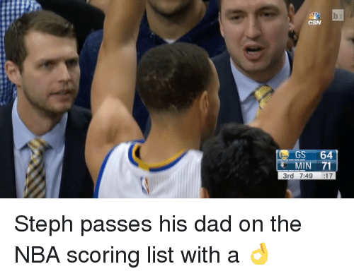 Sports, List, and Dads: CSN  GS 64  MIN 71  3rd 7:49 :17 Steph passes his dad on the NBA scoring list with a 👌