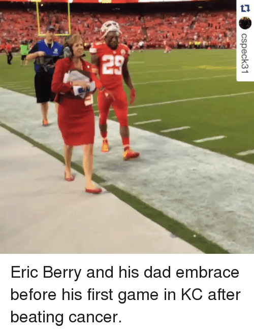 eric berry: CSpeck31 Eric Berry and his dad embrace before his first game in KC after beating cancer.