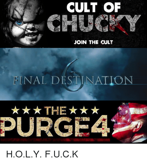 purging: CULT OF  JOIN THE CULT  NAL DESTINATION  THE  PURGE H.O.L.Y. F.U.C.K