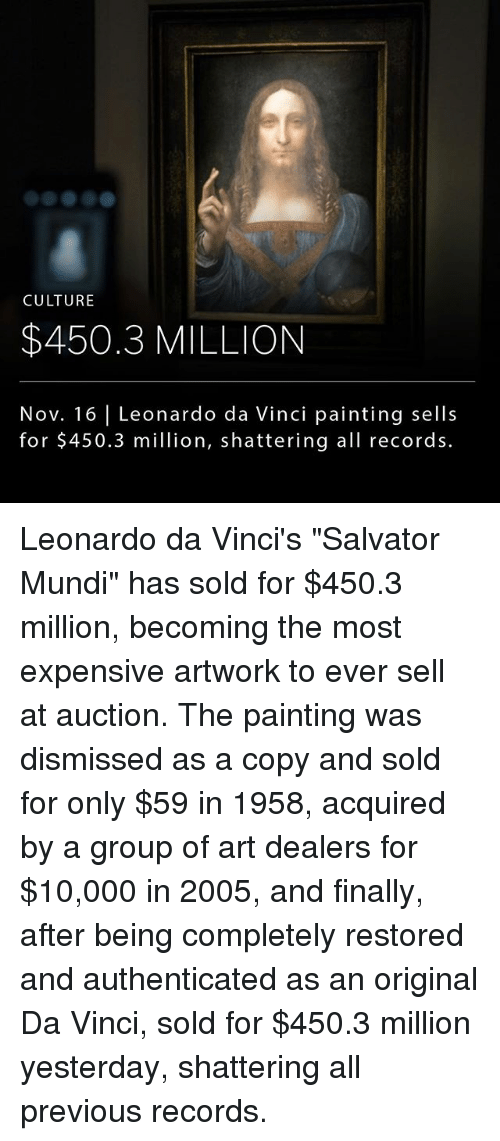 "Leonardo Da Vinci, Memes, and 🤖: CULTURE  $450.3 MILLION  Nov. 16 | Leonardo da Vinci painting sells  for $450.3 million, shattering all records. Leonardo da Vinci's ""Salvator Mundi"" has sold for $450.3 million, becoming the most expensive artwork to ever sell at auction. The painting was dismissed as a copy and sold for only $59 in 1958, acquired by a group of art dealers for $10,000 in 2005, and finally, after being completely restored and authenticated as an original Da Vinci, sold for $450.3 million yesterday, shattering all previous records."
