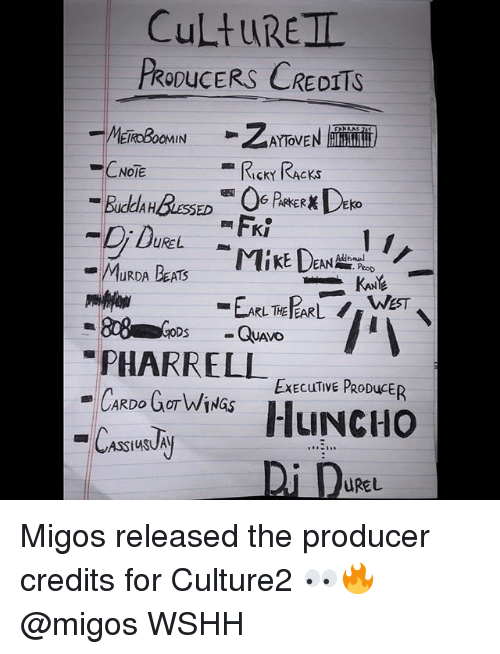 pharrell: CuLtuREIL  PRODUCERS CREDITS  CNOTE  RIcKY RAcKs  UREL  PeoD  PHARRELL EEculime  ExECuTIVE PRODuCER  Di De  UREL Migos released the producer credits for Culture2 👀🔥 @migos WSHH