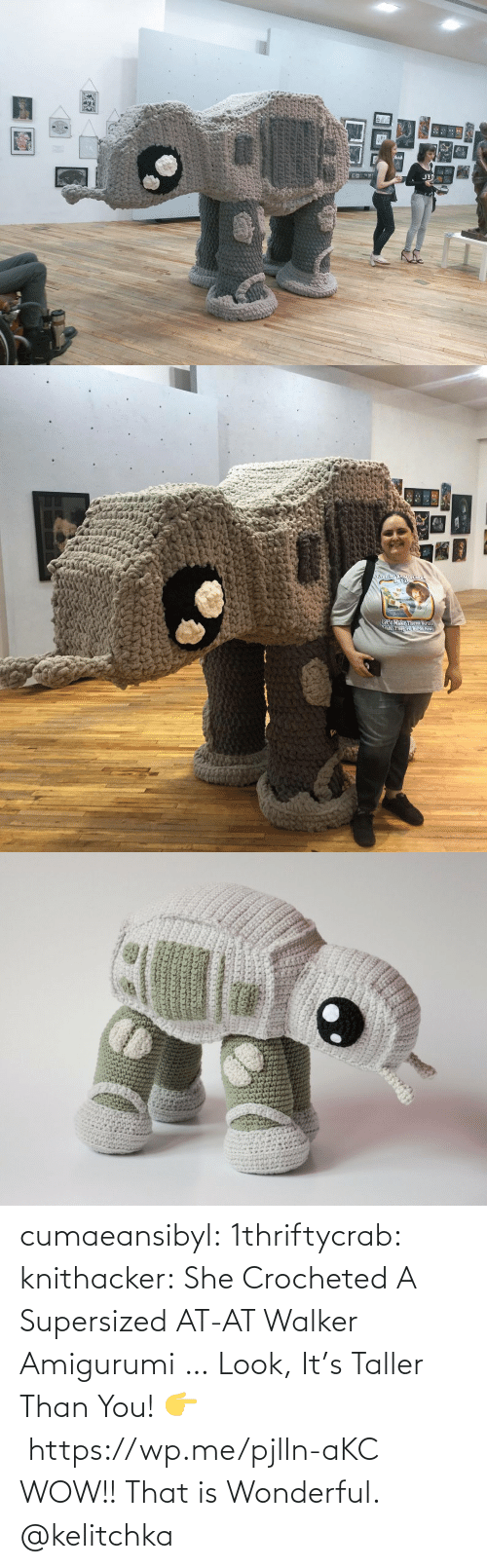 Than: cumaeansibyl: 1thriftycrab:  knithacker:  She Crocheted A Supersized AT-AT Walker Amigurumi … Look, It's Taller Than You! 👉 https://wp.me/pjlln-aKC  WOW!! That is Wonderful.   @kelitchka