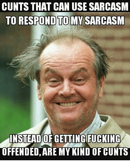 cunts: CUNTS THAT CAN USE SARCASM  TO RESPOND TO MY SARCASM  INSTEAD OF GETTINGIFUCKING  OFFENDED, ARE MY KIND OF CUNTS