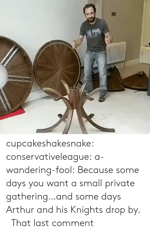 knights: cupcakeshakesnake:  conservativeleague:  a-wandering-fool:  Because some days you want a small private gathering…and some days Arthur and his Knights drop by.    That last comment