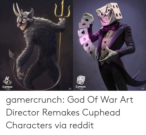 god of war: CUPHEAD  CUPHEAD  DEALWID  DONT D  루쿠 gamercrunch:  God Of War Art Director Remakes Cuphead Characters via reddit