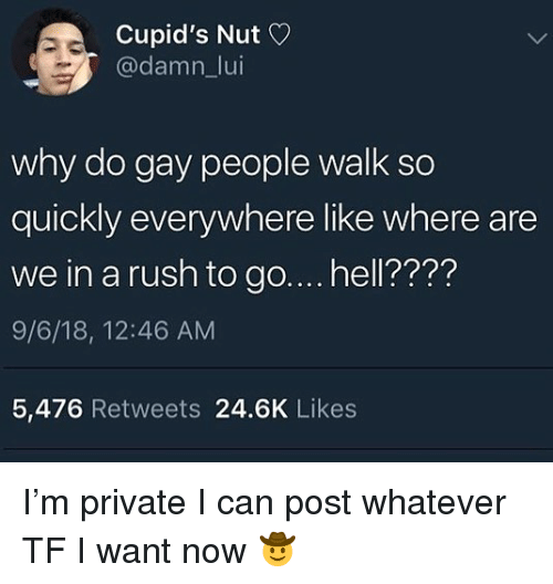 Rush, Hell, and Trendy: Cupid's Nut  @damn_lui  why do gay people walk so  quickly everywhere like where are  we in a rush to go.... hell????  9/6/18, 12:46 AM  5,476 Retweets 24.6K Likes I'm private I can post whatever TF I want now 🤠