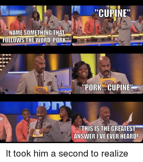 "Name Something That: ''CUPINE""  ""NAME SOMETHING THAT  FOLLOWS THE WORD PORK'""  ""PORKAA CUPINE  THIS IS THE GREATEST  ANSWER I VE EVER HEARD!"" It took him a second to realize"