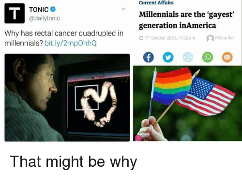 Quadrupled: Current Affairs  TONIC  @dailytonic  Millennials are the gayest  generation inAmerica  Why has rectal cancer quadrupled in  millennials? bit.ly/2mpOhhQ  thOctober 2016, 11:38 AMBobby Rae <p>That might be why</p>