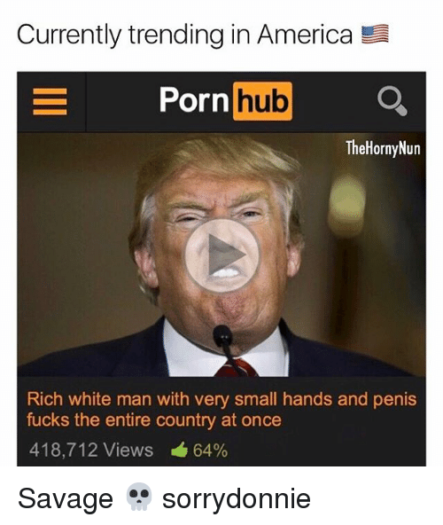 Horny, Memes, and Porn Hub: Currently trending in America  E Porn  hub  The Horny Nun  Rich white man with very small hands and penis  fucks the entire country at once  418,712 Views 64% Savage 💀 sorrydonnie