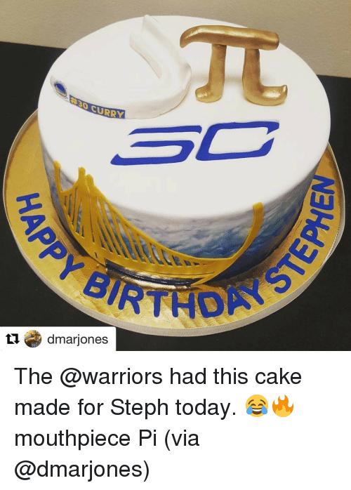 Basketball, Golden State Warriors, and Sports: CURRY  3C  tu dmarjones The @warriors had this cake made for Steph today. 😂🔥 mouthpiece Pi (via @dmarjones)