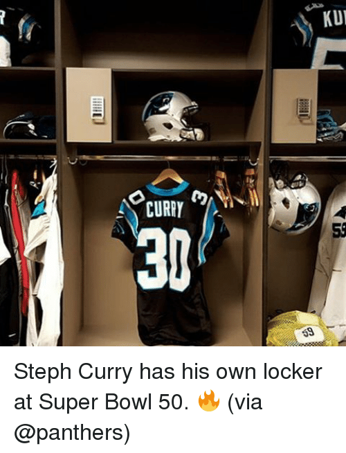 Super Bowl 50: CURRY  KUI Steph Curry has his own locker at Super Bowl 50. 🔥 (via @panthers)
