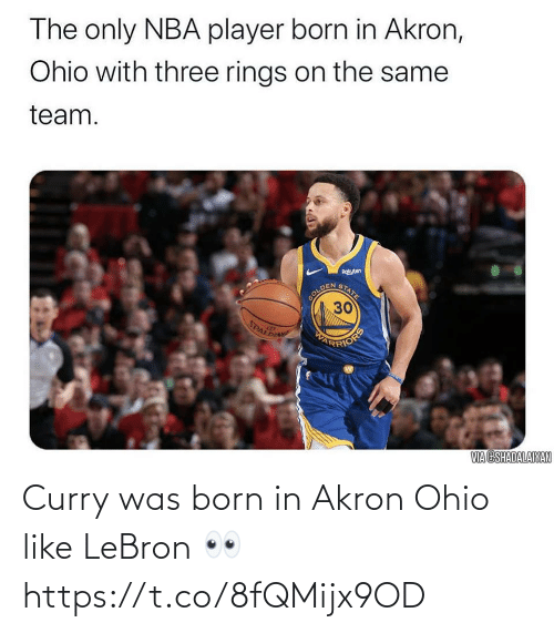 born: Curry was born in Akron Ohio like LeBron 👀 https://t.co/8fQMijx9OD