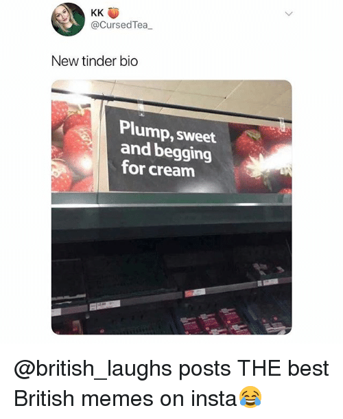 Memes, Tinder, and Best: @CursedTea  New tinder bio  Plump, sweet  and begging  for cream @british_laughs posts THE best British memes on insta😂