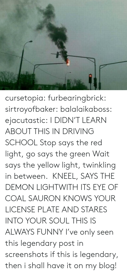 License: cursetopia:  furbearingbrick:  sirtroyofbaker:  balalaikaboss:  ejacutastic:  I DIDN'T LEARN ABOUT THIS IN DRIVING SCHOOL  Stop says the red light, go says the green Wait says the yellow light,twinkling in between. KNEEL, SAYS THE DEMON LIGHTWITH ITS EYE OF COALSAURON KNOWS YOUR LICENSE PLATEAND STARES INTO YOUR SOUL  THIS IS ALWAYS FUNNY  I've only seen this legendary post in screenshots  if this is legendary, then i shall have it on my blog!