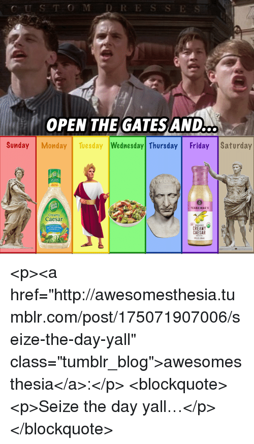 "Friday, Tumblr, and Blog: CUS TOMDRE  OPEN THE GATES AND  ..  Sunday Monday Tuesday Wednesday Thursday Friday |Saturday  TESSEMAE'S  Creamy  Caesar  ORGANIC  CREAMY  CAESAR  FL02 (296)  BETTER ABSORE  ITAMINS <p><a href=""http://awesomesthesia.tumblr.com/post/175071907006/seize-the-day-yall"" class=""tumblr_blog"">awesomesthesia</a>:</p>  <blockquote><p>Seize the day yall…</p></blockquote>"