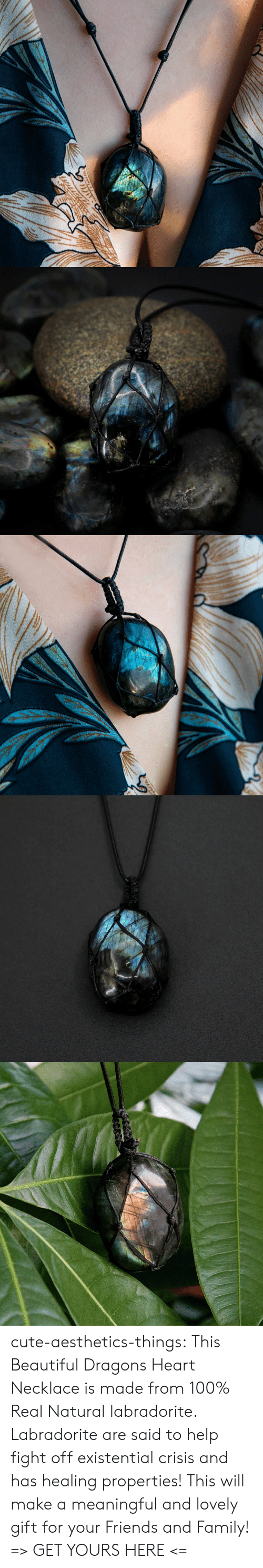 existential: cute-aesthetics-things: This Beautiful Dragons Heart Necklace is made from 100% Real Natural labradorite. Labradorite are said to help fight offexistential crisis and has healing properties! This will make a meaningful and lovely gift for your Friends and Family! => GET YOURS HERE <=