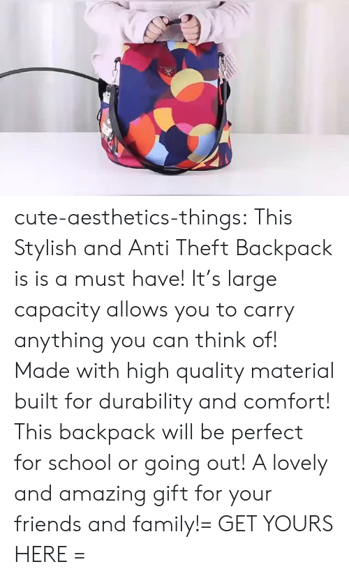 Stylish: cute-aesthetics-things:  This Stylish and Anti Theft Backpack is is a must have! It's large capacity allows you to carry anything you can think of! Made with high quality material built for durability and comfort! This backpack will be perfect for school or going out! A lovely and amazing gift for your friends and family!= GET YOURS HERE =