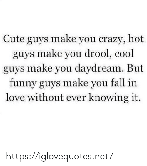 you fall in love: Cute guys make you crazy, hot  guys make you drool, cool  guys make you daydream. But  funny guys make you fall in  love without ever knowing it. https://iglovequotes.net/