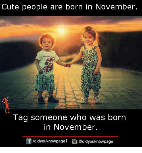 Cute, Memes, and Tag Someone: Cute people are born in November.  Tag someone who was borrn  in November.  /didyouknowpagel @didyouknowpage