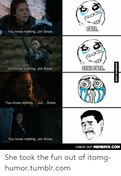 you know nothing jon snow: CUTE.  You know nothing, Jon Snow.  STILL CUTE.  You know nothing, Jon Snow.  You know nothing .. Jon .. Snow.  You know nothing, Jon Snow.  CHECK OUT MEMEPIX.COM  MEMEPIX.COM She took the fun out of itomg-humor.tumblr.com