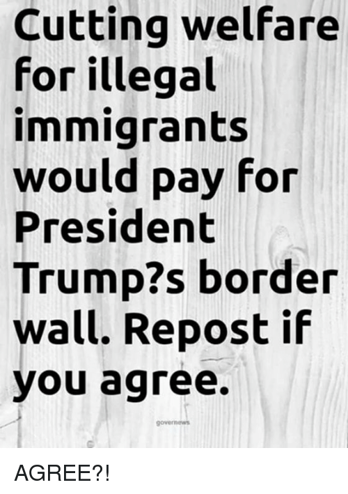 Trump, President, and Welfare: Cutting welfare  for illegal  immigrants  would pay for  President  Trump?s border  wall. Repost if  you agree. AGREE?!