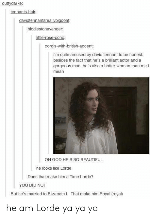 David Tennant: cuttydarke:  tennants-hair:  davidtennantsreallybigcoat:  hiddlestonavenger  little-rose-pond:  corgis-with-british-accent:  I'm quite amused by david tennant to be honest.  besides the fact that he's a brilliant actor and a  gorgeous man, he's also a hotter woman than me i  mean  OH GOD HE'S SO BEAUTIFUL  he looks like Lorde  Does that make him a Time Lorde?  YOU DID NOT  But he's married to Elizabeth I. That make him Royal (royal) he am Lorde ya ya ya