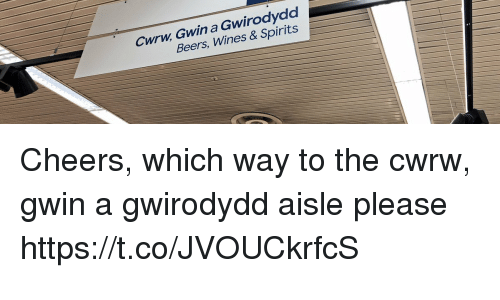 wines: Cwrw Gwin a Gwirodydd  Beers, Wines & Spirits Cheers, which way to the cwrw, gwin a gwirodydd aisle please https://t.co/JVOUCkrfcS